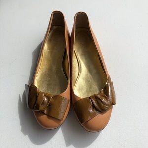 JCrew Italian bow tonal leather ballet flats